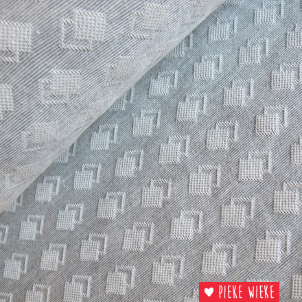Jacquard dubbele blokjes grijs