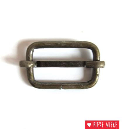 Schuifgesp 25 mm bronskleurig metaal