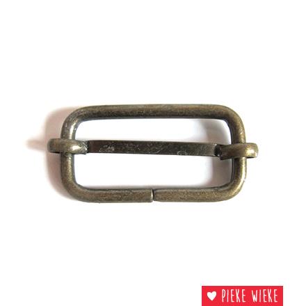 Schuifgesp 32 mm bronskleurig metaal