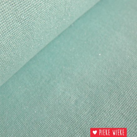 Glitterboordstof Mint/zilver