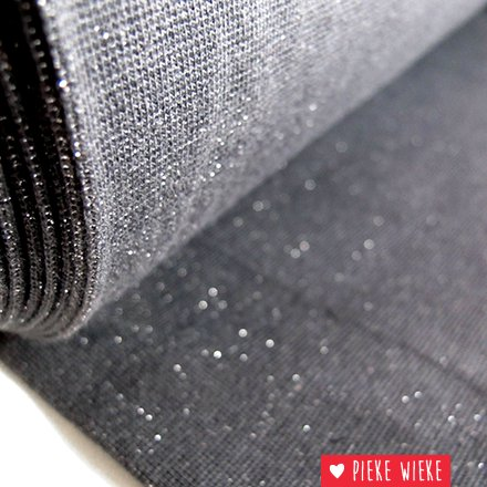 Glitterboordstof Antraciet/zilver