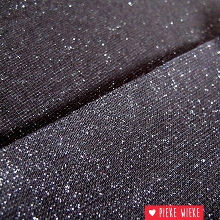 Glitterboordstof Zwart/zilver