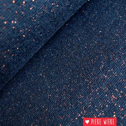 Glitterboordstof Donkerblauw / koper