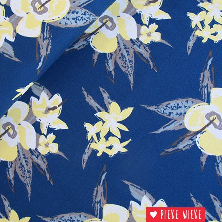 Tricot Tropical flowers blauw