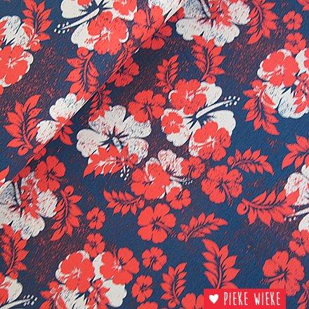 Tricot Hawai blauw rood