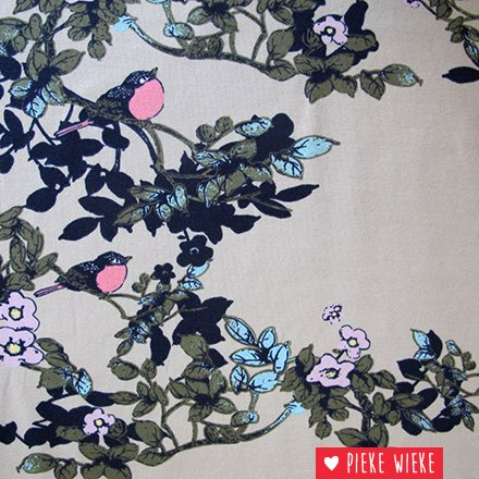 Tricot flowers and birds beige