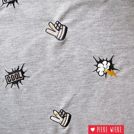 Geborduurde Sweater stof  Cool