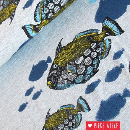 Mies & Moos Tricot Fish in the sea grijs gemêlleerd