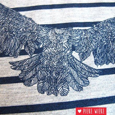 Grijs gemêlleerde tricot met print van Arend en strepen
