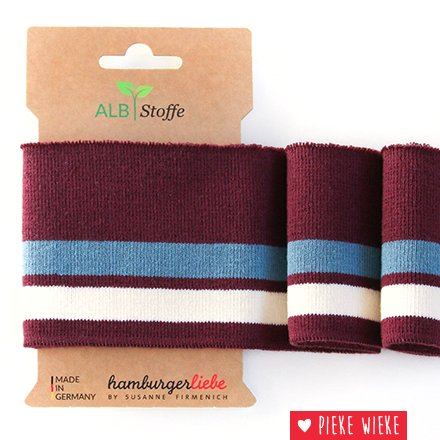 Albstoff Cuff Me College sleeve collar Bordeaux - blue - white