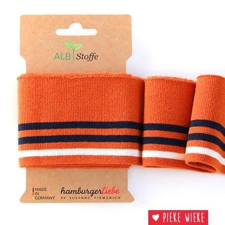 Albstoff Cuff Me College mouwboord 3 lijnen Oranje