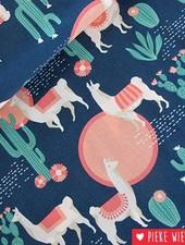 Free Spirit Coton Lingering Llamas Blue pink