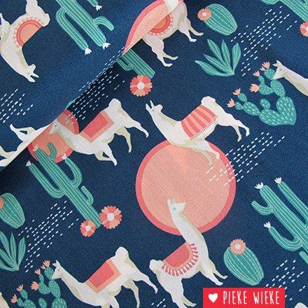 Free Spirit Katoen Lingering Llamas Blauw - Roze