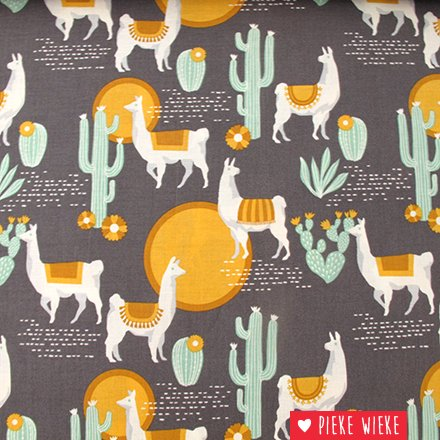 Free Spirit Coton Lingering Llamas Gray - yellow
