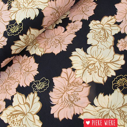 Pearl Peach Flowers Navy with gold