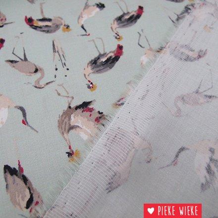 Royal satijn katoen Kraanvogels mint