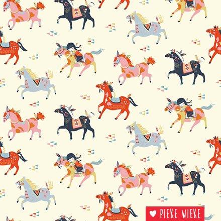 Birch Fabrics Biologische tricot Wildland wild Horses