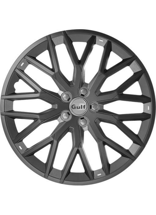 Set 4 stuks wieldoppen 16 inch GT40 Zwart/Grijs