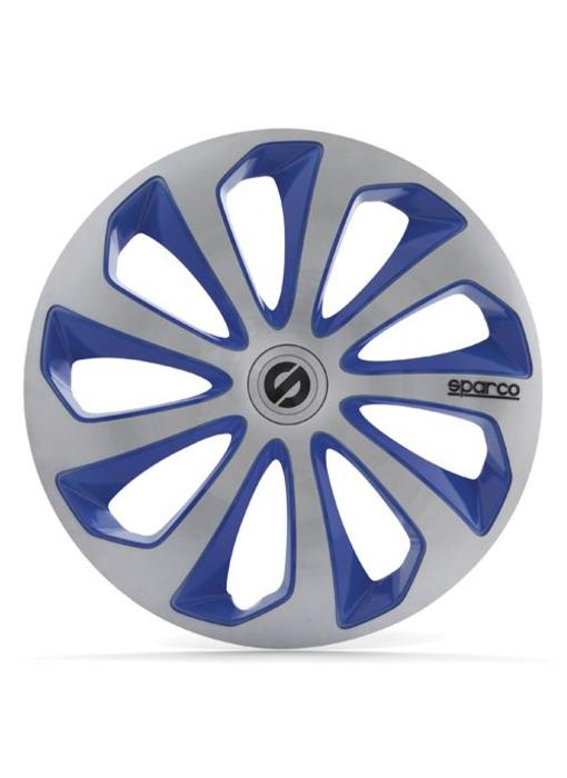 Set 4 stuks wieldoppen 13 inch SICILIA  Zilver / Blauw