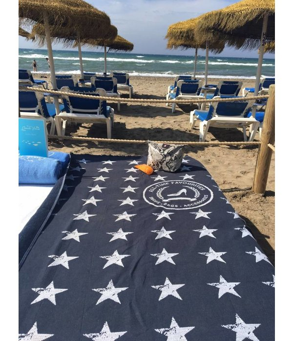 Strandlaken/hamamdoek Stars Blauw
