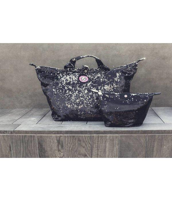 Kleine Shopper Pailletten Zwart/Zilver
