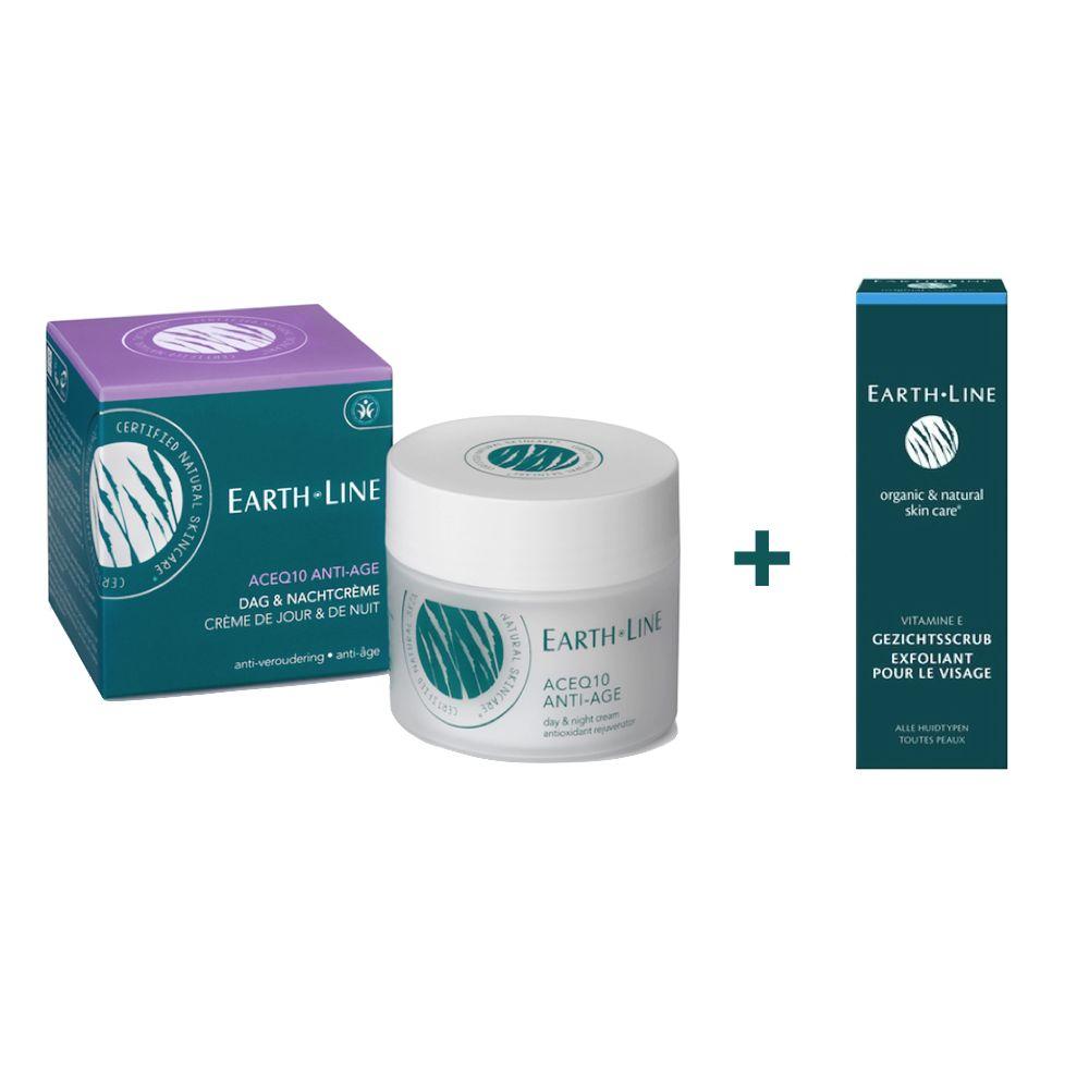 Earth Line Earth Line ACEQ10 Anti Age Tages- und Nachtcreme mit Vitamin E FREE Facial Scrub