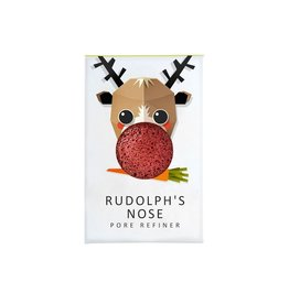 Konjac Sponge Mini Rudolph Face Puff Red French Clay