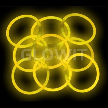 Glowit 100 bracelets lumineux - 200mm x 5mm - Jaune