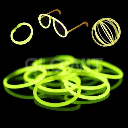 Glowit 100 glow armbanden - 200mm x 5mm - Geel