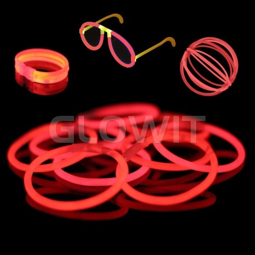 Glowit 100 glow bracelets - 200mm x 5mm - Red