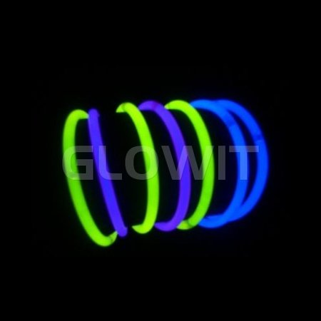 Glowit 100 glow bracelets - 200mm x 5mm - Mixed