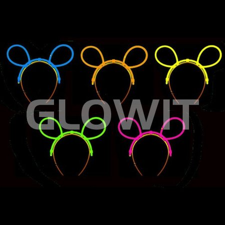 Glowit 25 Serre-têtes pour oreilles mickey lumineuses