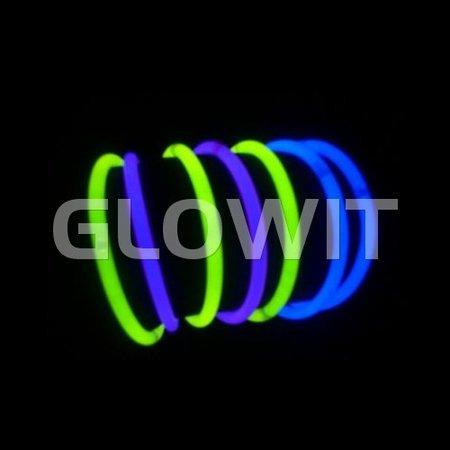 Glowit 100 bracelets lumineux - 200mm x 5mm - Blue