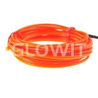 GLOWIT EL draad - 2m x 2.3mm - 3V (2 x AA batterijen) - Oranje (Inclusief invertor)