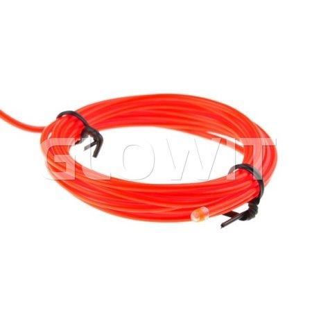 Glowit EL draad - 2m x 2.3mm - 3V (2 x AA batterijen) - Rood (Inclusief invertor)