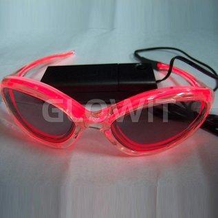 GLOWIT EL zonnebril - 3v (2 x AA batterijen) - Rood