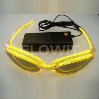 GLOWIT EL zonnebril - 3v (2 x AA batterijen) - Geel