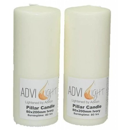 Ivory Pillar Candle 80x200mm 80 Hour