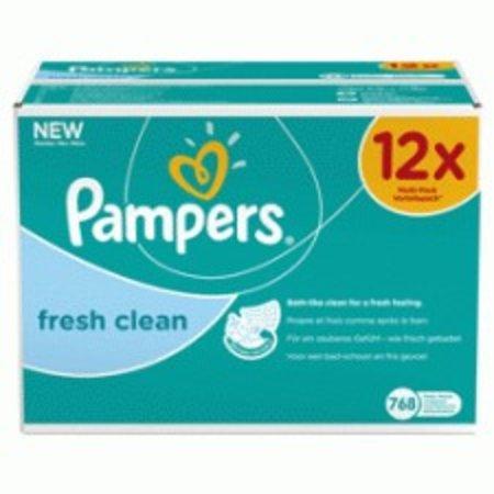 Pampers frais Clean - lingettes Recharge 12x64 points.