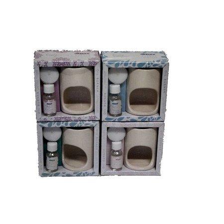 4 Airpure Ölbrenner + Öl + waxinelichtje - 4 verschiedene Düfte