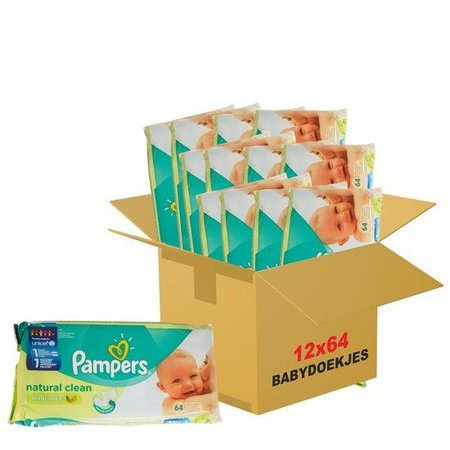 Pampers Natural clean 12x64 doekjes