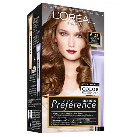 L'Oréal Préférence 6.23 Toscane Parelmoer Lichtbruin