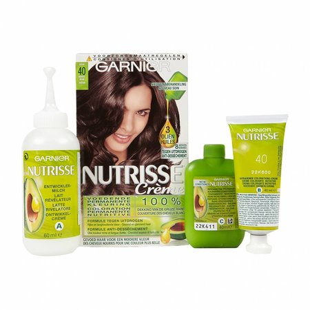 Garnier Nutrisse Creme 40 - Natürliche Brown Mitte - Haarfärbemitteln