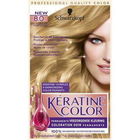 Schwarz Keratin Farbe 8.0 Natürliche Blonde