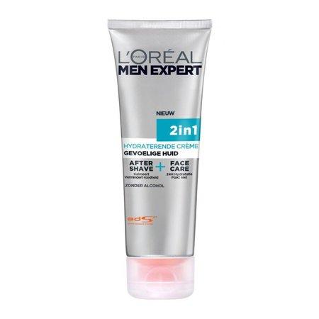 L'Oréal Men Expert 2 in 1 Aftershave en Gezichtscrème Gevoelige Huid 75 ml