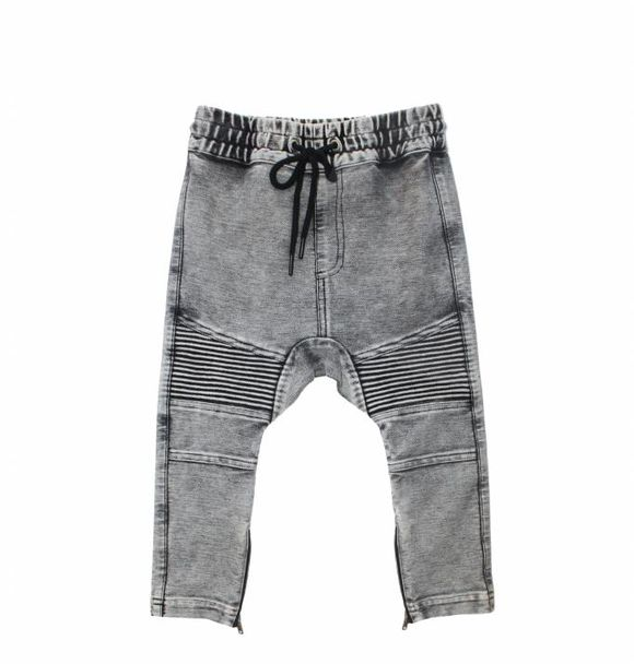 Adam + Yve GREY DENIM DROP CROTCH BIKER JOGGERS