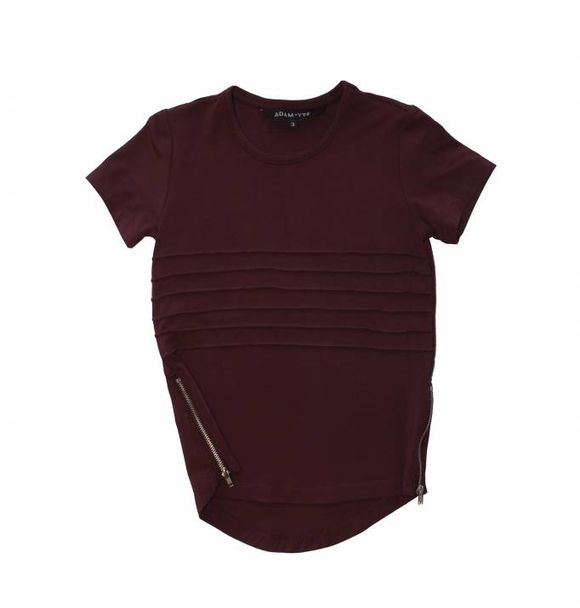 Adam + Yve BURGUNDY SIDE ZIP TEE
