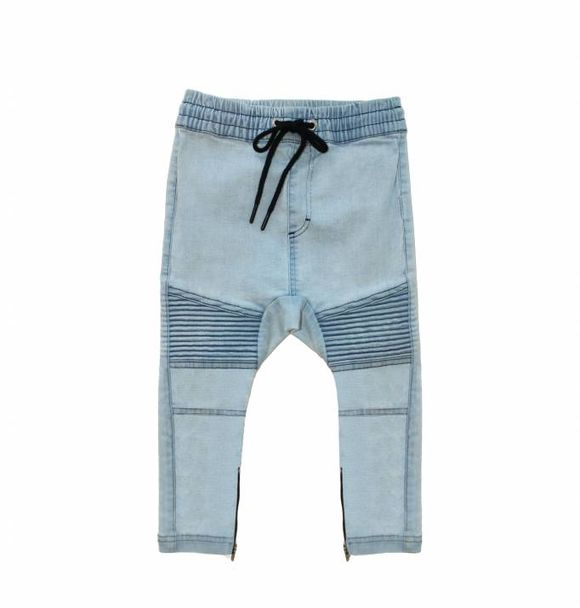 Adam + Yve BLUE DENIM DROP CROTCH BIKER JOGGERS