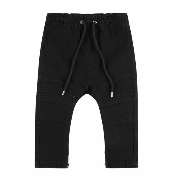 Adam + Yve BLACK DENIM DROP CROTCH BIKER JOGGERS