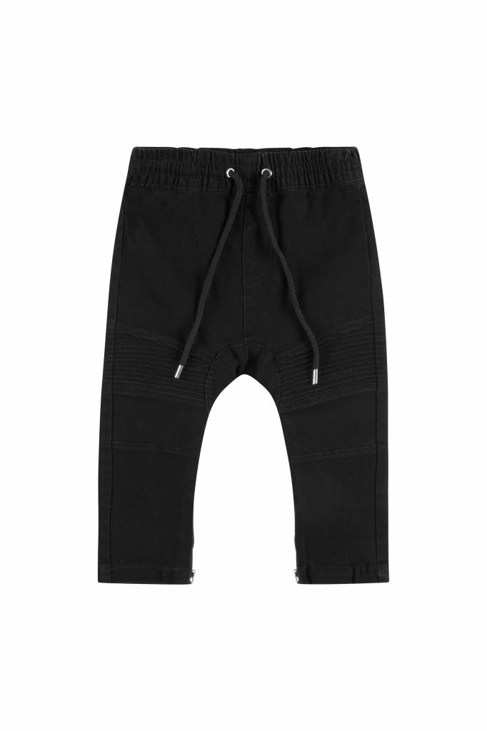 Adam + Yve BLACK DENIM DROP CROTCH BIKER JOGGERS  - ADAM YVE